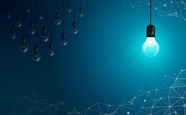 明るい電球は、オフになっている他の電球の反対側にあります。幾何学的な多角形の背景。アイデア、ビジネス、科学および技術の概念