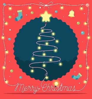 Рождественская елка из рождественские огни и украшения.