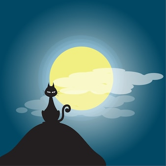 漫画ハロウィーンの黒い猫のイラスト。