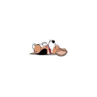 怠惰なビーグル犬の背中に横たわっているアイコン
