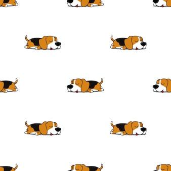 かわいいビーグル犬睡眠シームレスパターン