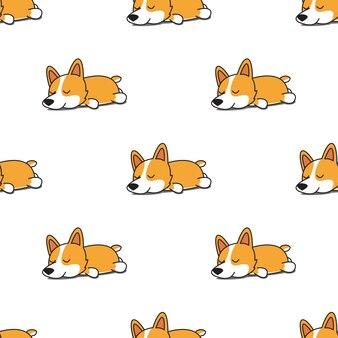 Симпатичные корги собака спать бесшовные модели