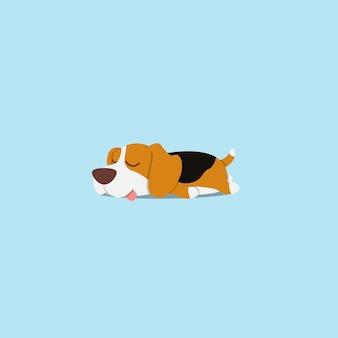 怠惰なビーグル犬のスリープフラットアイコンデザイン