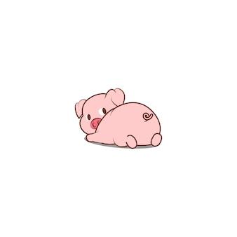 かわいい豚が横たわって後ろを見て