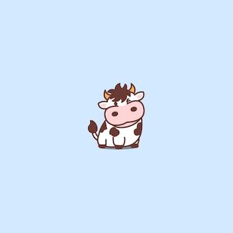 Симпатичная корова мультфильм значок