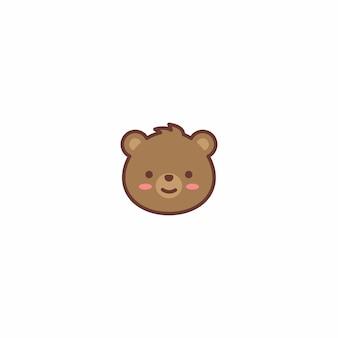 Милый медведь лицо мультфильм вектор значок
