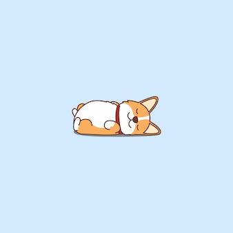 漫画のアイコンを後ろに横になっているかわいいウェールズコーギー子犬