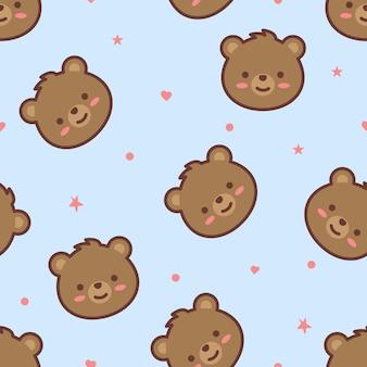 かわいいクマの顔漫画のシームレスパターン