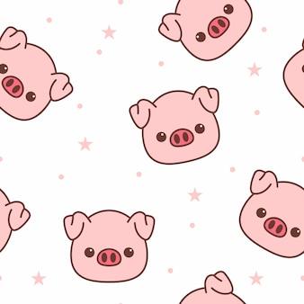 豚の顔漫画のシームレスパターン