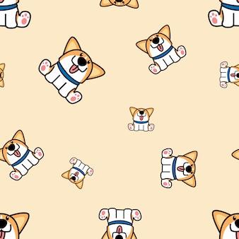 シームレスなパターンを座っているかわいいウェールズコーギー子犬