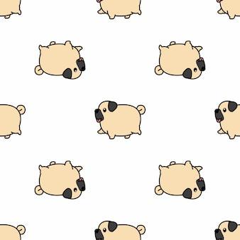 かわいいパグ犬ウォーキング漫画のシームレスパターン