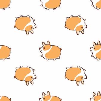 脂肪コーギー犬ウォーキング漫画のシームレスなパターンベクトル