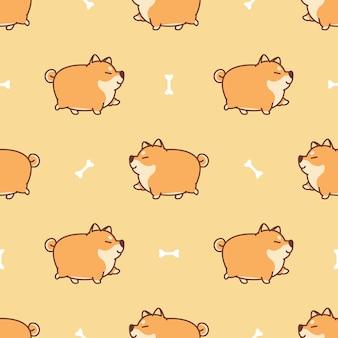 脂肪柴犬犬のウォーキング漫画のシームレスパターン
