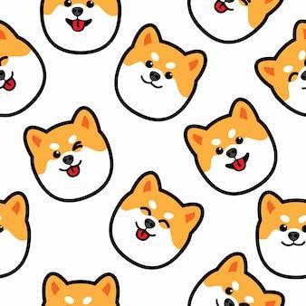 かわいい柴犬犬の顔のシームレスパターン
