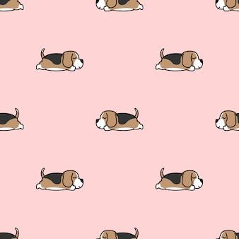 シームレスパターンを眠っている怠惰なビーグル子犬