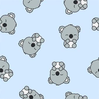 Милый ребенок коала мультфильм бесшовный фон