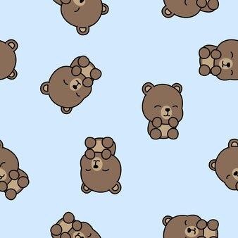 かわいい赤ちゃんクマ漫画のシームレスパターン