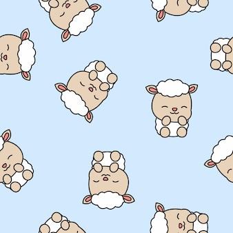 かわいい赤ちゃん羊漫画のシームレスパターン