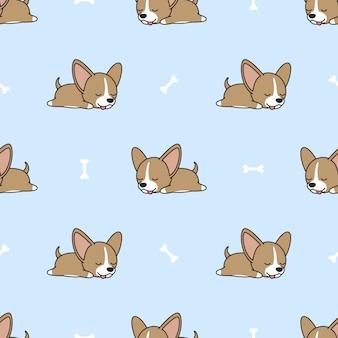 骨のシームレスなパターンで眠っているチワワ子犬