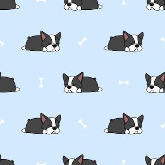 ボストンテリア子犬の骨のシームレスなパターンで眠っています。
