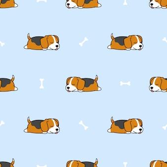 ビーグル子犬の骨のシームレスなパターンで眠っています。