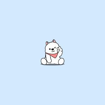 Милый щенок самоеда подмигивая глаз мультфильм значок