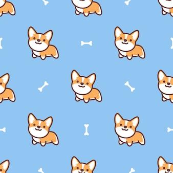 かわいいペンブロークウェルシュコーギー犬漫画のシームレスパターン