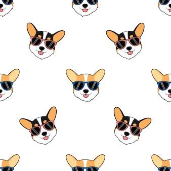 サングラス漫画のシームレスなパターンを持つかわいいコーギー犬の顔