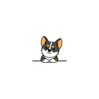 壁の漫画の上に目をまばたきかわいいコーギートリコロールの子犬