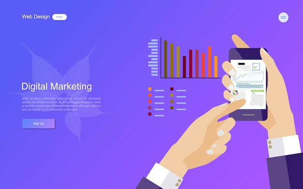 デジタルマーケティングのためのビジネスコンセプト。