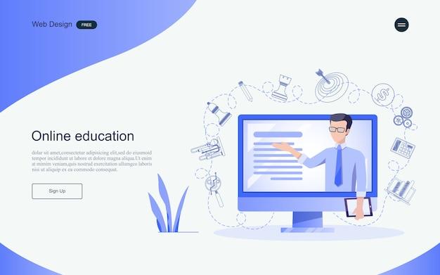 オンライン学習、トレーニング、およびコースのための教育の概念。ランディングページのテンプレート。