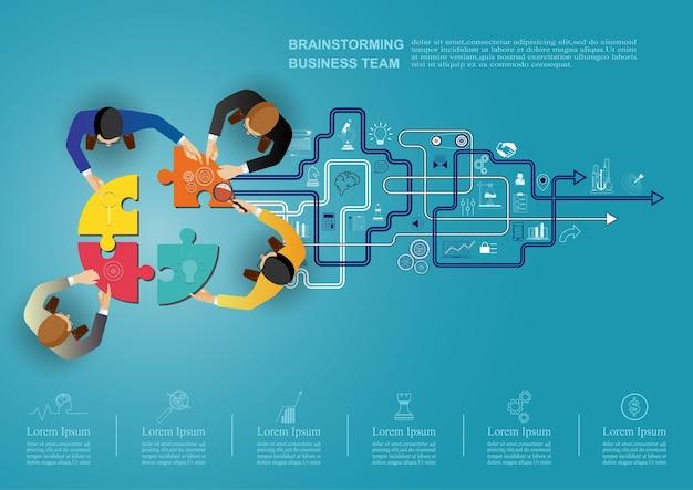 ビジネスチームワークのためのアイデアコンセプト。