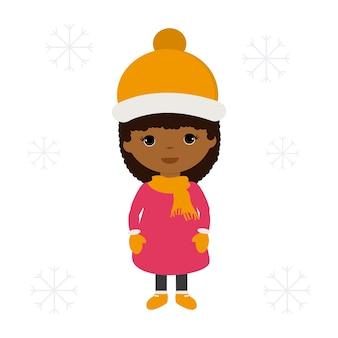 Африканская девушка с теплой одеждой