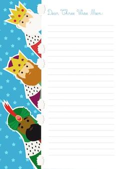 Письменный шаблон для трех мудрецов с ними, выглядывающий с левой стороны листа