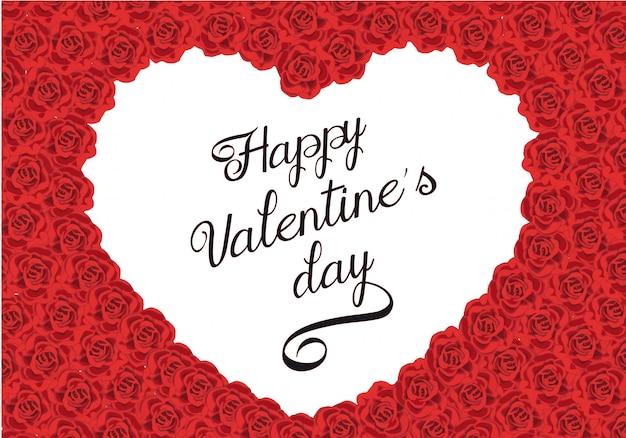 バラのフレームとバレンタインの挨拶