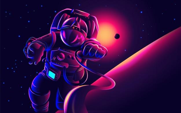 Астронавт арт в векторе