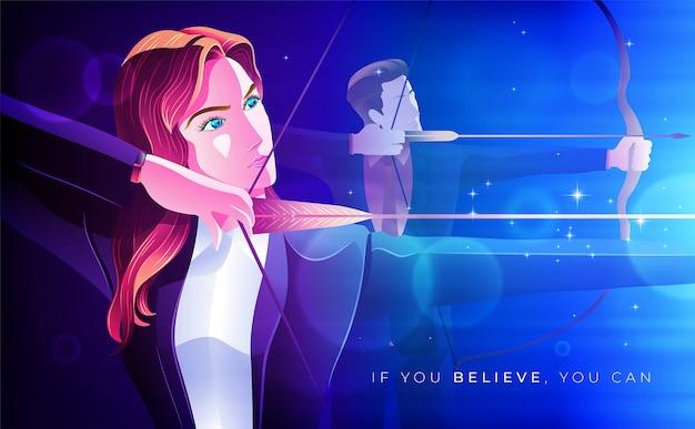 Стрельба из лука бизнес женщина концепции иллюстрации