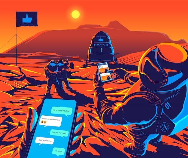 Марс социальная концептуальная иллюстрация