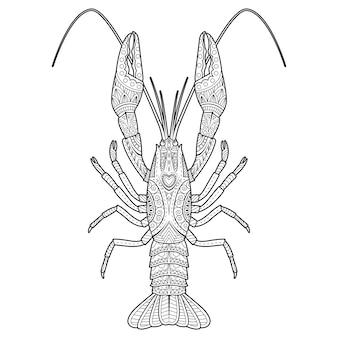 Векторный рисованный рисунок раков для раскраски