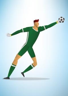 サッカーのゴールキーパーの選手緑色の統一のアクションゴールを保存します。