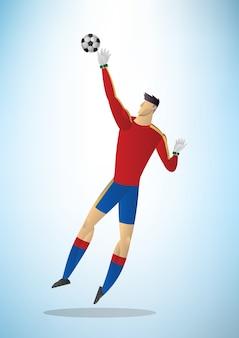 サッカーのゴールキーパーの選手の行動は、目標を保存します。