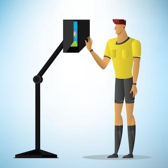 サッカー審判はビデオアシスタント審判の行動を示します。