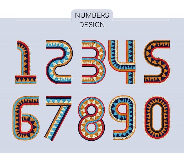 刺繍された番号。波打ちボヘミアンプリント