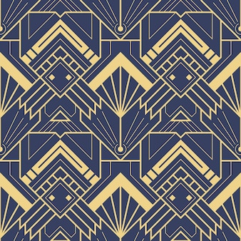 抽象的なブルーアールデコシームレスパターン
