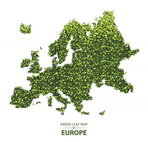 ヨーロッパの緑の葉の地図