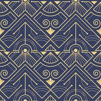 抽象的なブルーアールデコシームレスパターンベクトル