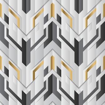 Абстрактный геометрический декор полос белого и золотого элемента