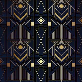 Абстрактный арт-деко бесшовные синий и золотой узор