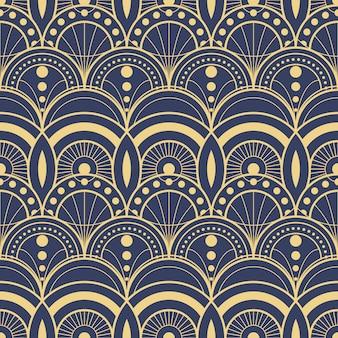 抽象的なアールデコブルーのモダンな幾何学的なタイルパターン