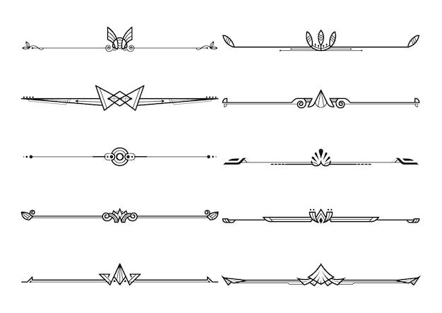Набор разделителей на границе, векторных декоративных элементов дизайна